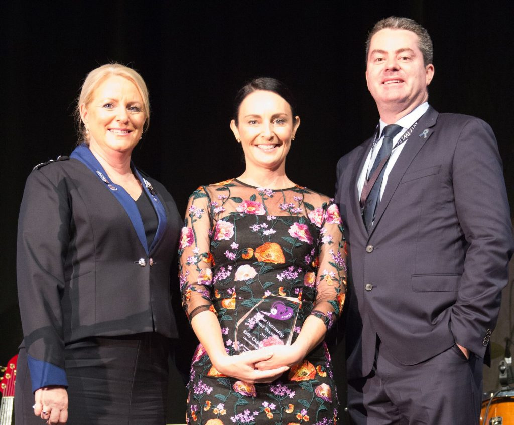 1.10 ACWAP President Deb Platz with Most Outstanding Female Practitioner Senior Constable Kelly Chamberlain, QPS and Police Association of New South Wales President, Scott Weber._preview