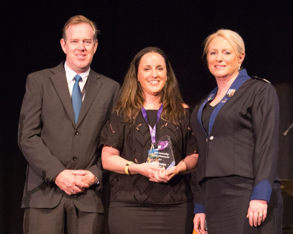 1.9 Clark Montagu, Business Development Manager, Crimsafe Security Systems with award recipient Senior Project Officer Natasha Habjan, Victoria Police, and ACWAP President Deb Platz._preview